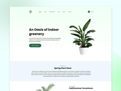 Planting Store Landing Page Design for Web gradient logo nature illustration homepage landing page procreate cactus gogreen website designer plant shop nature gardening ecommerce shop page website design
