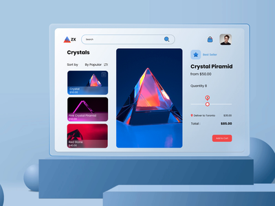 Impeccable UI Designs for a Perfect Crystal Ordering Web App pyramid crystal gem icon illustration glow shine reflection crypto bitcoin blockchain gradient noise retro vintage light