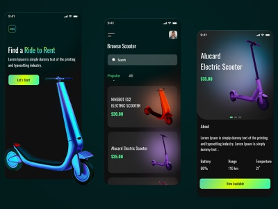 Electric Scooter - Web Layout ios app onboarding navigation gps mobile map tutorial quest coins scooter electric escooter design ui location fab tab illustration profile