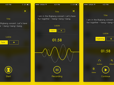 Live Fm Project play line contact social live sketch ps ai voice yello ui