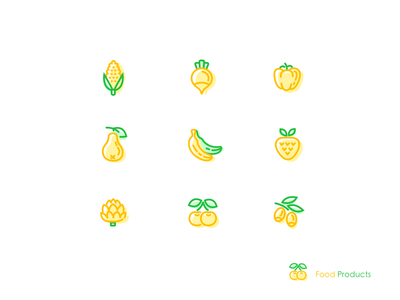 Food Products ai food fruits green yellow icon ui