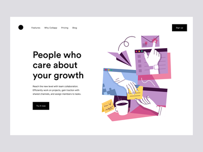 Collaboration Environment: Product Page illustration collaboration tool productdesign website design digital product saas design product website product page landing page