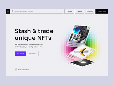NFT Trading Platform: Landing Page blockchain nft platform digital product product page marketing website product website hero section landing page website design