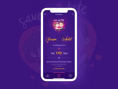 Save The Date 3x purple illustration art ios savethedate invitaion