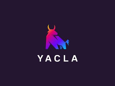 Yacla Logo power symbol strong buffalo bull bullfight brand business horn character angry simple cow ox logo logotype mascot yac brand identity branding
