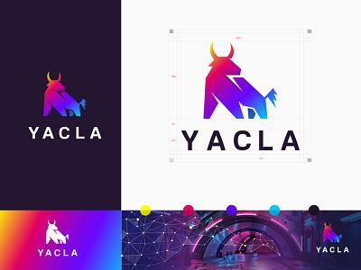 Yacla Logo logo horn business ox yac cow vector identity typography logotype bullfight logomark branding brand identity angry character bull buffalo strong symbol