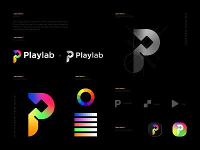 Playlab Logo Concept design icon brand laboratory lab letter p pixels unused rainbow technology tech entertainment marketing logomark play play logo play icon logotype brand identity branding