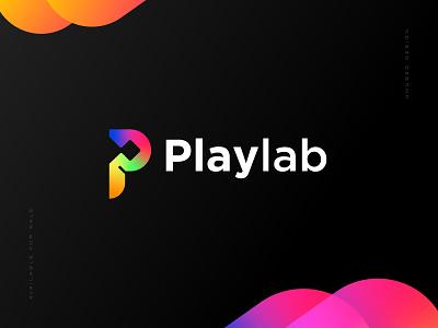 Playlab Logo Concept identity entertainment multimedia technology rainbow unused pixels lab laboratory play logo music logomark play icon logos logo design modern logo logotype logo brand identity branding