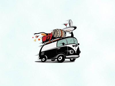 The Nomad Bartender illustration logotype blackandwhite hand shaker coctail suitcase barrel van bartender nomad
