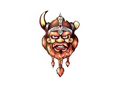 Viking self portrait brave moustache horn hair mean braid beard helmet illustration viking