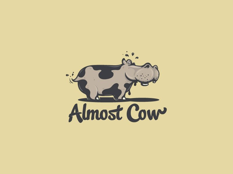 Almost Cow funny comic shading illustration logo mistake drop mud animal cow hippo
