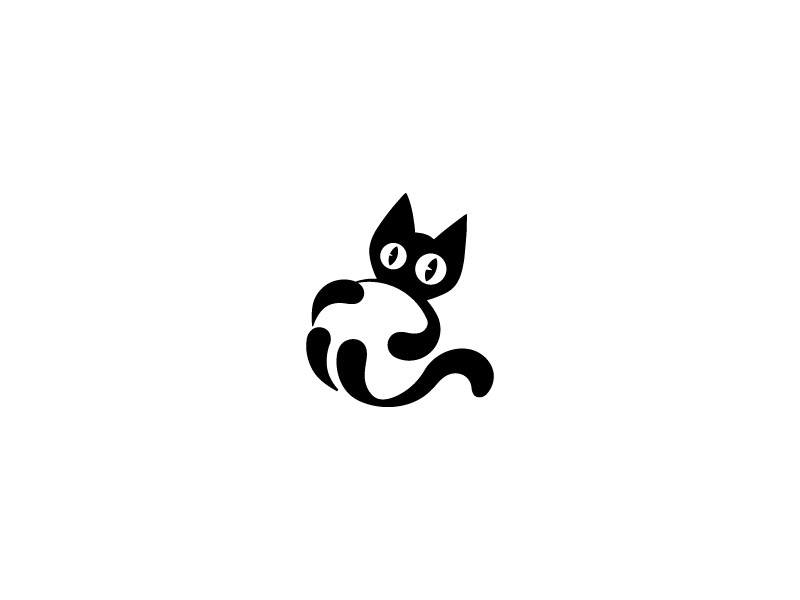 Black Cat kitten animal ears weird logo team tail eyes ball black cat