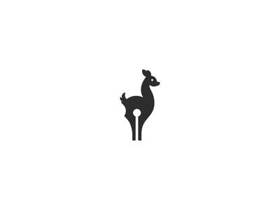 Doe illustration graphic brand animal symbol logo writer pen deer fawn doe
