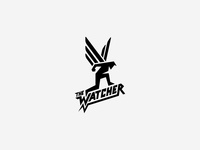 The Watcher typography custom illustration logo guardian comic human wings hero
