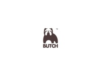 Butch negativespace mark logo icon animal pet dog bulldog