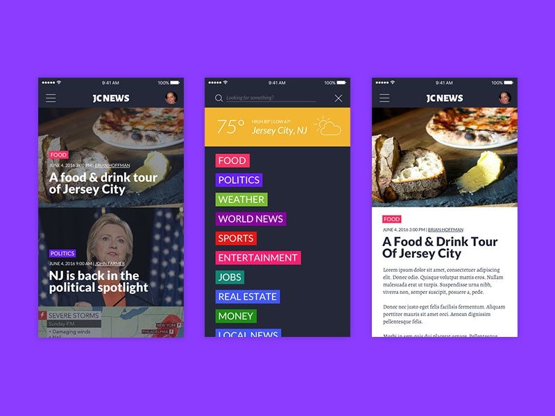 Newspaper Redesign search weather navigation article content newspaper news web design mobile