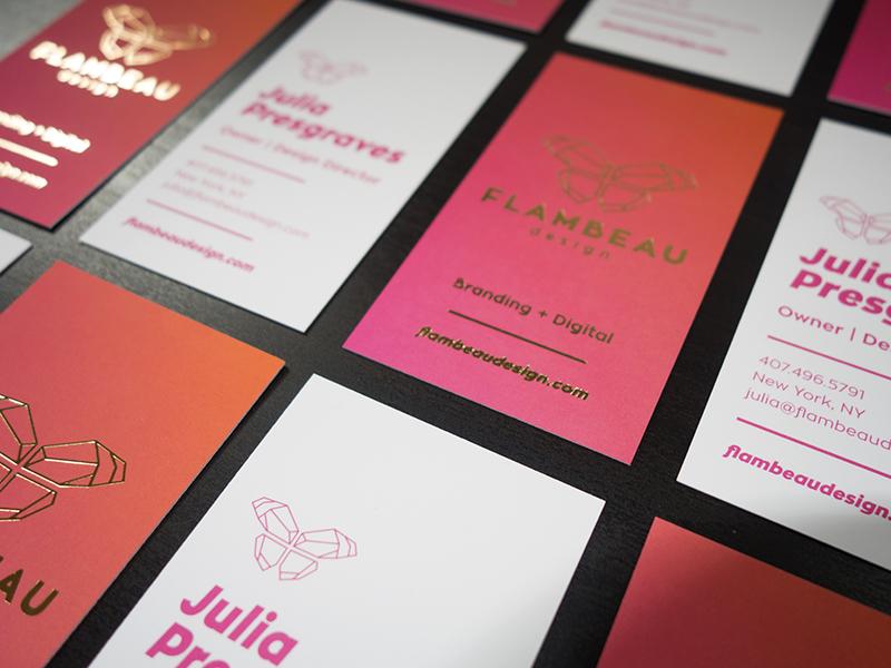 Flambeau Design Business Cards identity design studio gradient print foil offset business cards