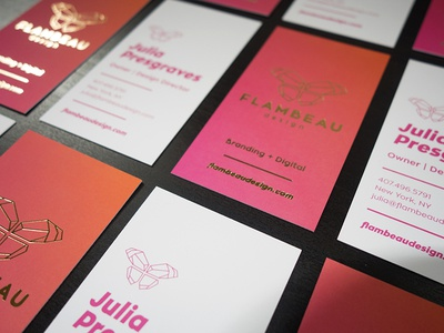 Flambeau Design Business Cards identity design studio gradient print foil offset business cards