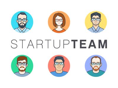 Startup Team Avatars character design ecuador designer avatar vector startup team
