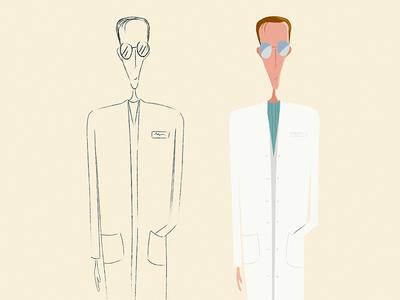 Scientist. sketches character design illustration 2d