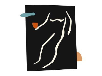 Figure 01 collage art analog digital black shapes figurative figure person human abstract inspired matisse cut paper collage