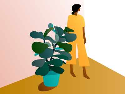 Woman and ficus in corner houseplants plants illustration gradients pretty diversity yellow ficus fiddle leaf fig woman