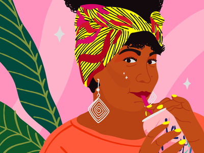 Rachel Cargle black history month portrait person writer lacroix black lives matter black educator activist rachel cargle plant cute pink illustration