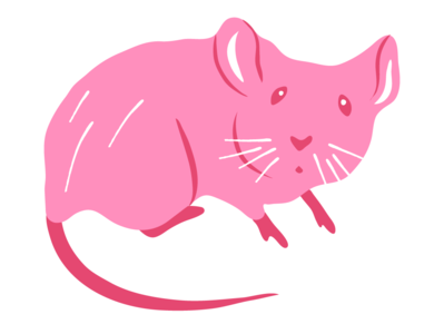 Pink Mouse minimal adorable simple spot scared rodent mouse whimsical cute pink editorial apartment therapy illustration