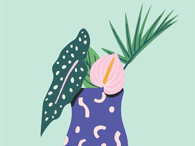 Plants in Vase art turquoise teal adobe illustrator green blue whimsical abstract shapes tropical leaves bouquet vase flower anthurium leaf palm begonia vector illustration