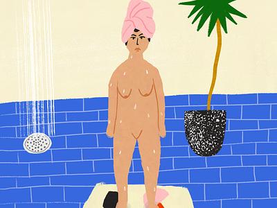 Existential Post-Shower adobe adobefresco sad drawing digital water bathroom woman girl naked blue tile interior shower dracaena plant houseplant whimsical plants illustration