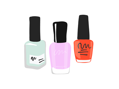 Nail Polish colorful beauty salon beauty product beauty editorial adobe illustrator illustration spot vectorart vector lilac purple mint teal red nail art nail salon nail nails nail polish