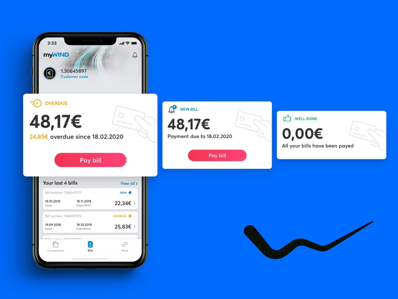 WIND | myWIND Payment Cards new overdue bill analysis bill payment payment card card balance telco telecom mobile app mobile design android ios app ui mobile