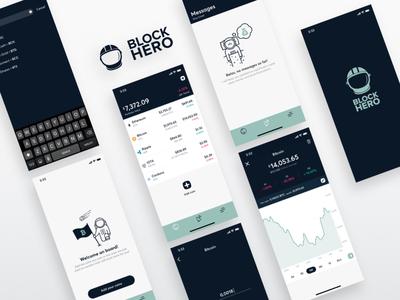 BlockHero Crypto Tracker finance graph tracker portfolio cryptocurrency android iphone x ios crypto app ui mobile