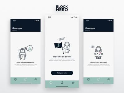 BlockHero | Empty Screens mobile ui app ios iphone x fintech finance android cryptocurrency tracker crypto empty screen