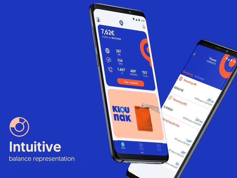 WIND myQ mobile app - Balance Representation mobile ui cards status telco dashboard mobile app design app mobile