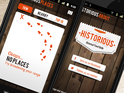 Historious Android App history travel tourism android mobile app wood empty set