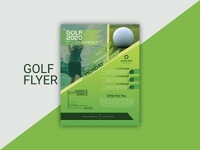 Golf Flyer graphic element graphic design modern flyer design golf ball golf club golfer golf golf flyer corporate flyer leaflet business flyer branding unique flyer flyer template flyer
