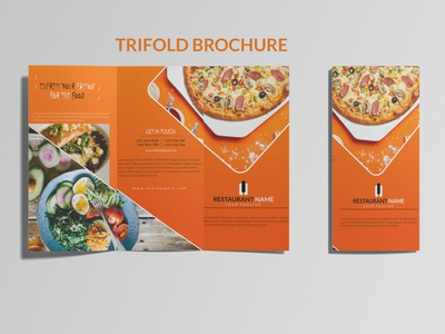 TRIFOLD BROCHURE print brochure design food brochure bifold trifold illustration design leaflet