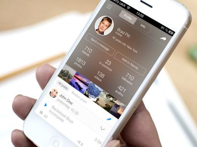 VK App Profile Page vk vk app profile vk ios 7 ios 7 flat ios ui flat ios 7 iphone 5s iphone 5c social app facebook ios 7 flat facebook