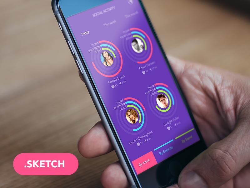 Social Activity social app iphone 6 ios kit ios 8 ios set ios design ios 8 kit colored ui app design apple watch sketch free