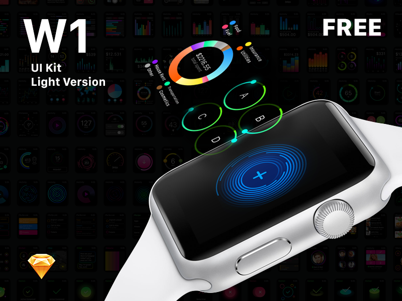 W1 UI Kit apple watch mockup ui set sketch watch os ui ui kit watch ui apple watch free sketch apple watch gui apple watch ui kit