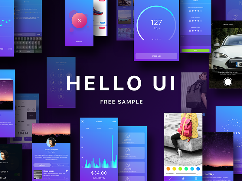 Hello UI Kit Free Sample by Yuriy Kondratkov on Dribbble