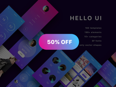 Hello UI Kit 50% OFF hello ui kit free psd free sketch app design app ios app ui design ios 10 user interface ios ui kit wireframe ui kit