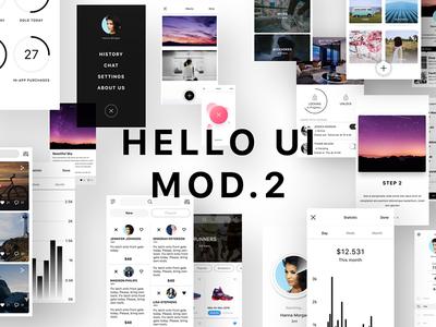 Hello UI Mod. 2 hello ui kit free psd free sketch app design app ios app ui design ios 10 user interface ios ui kit wireframe ui kit