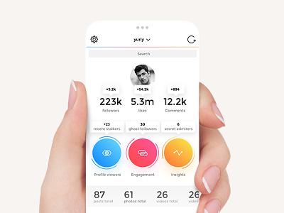 InstaReport instareport ios 11 iphone 8 instagram colored ui material social app free