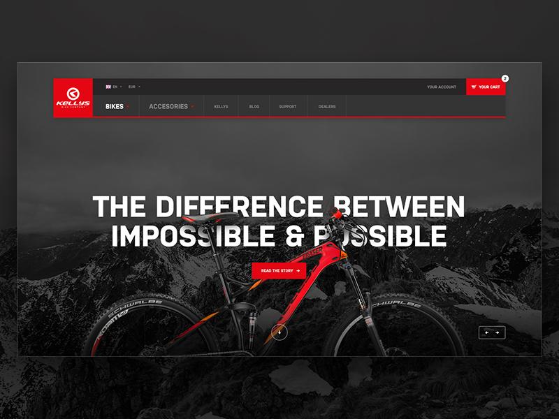 Kellys Homepage Header submenu menu dark bike slider header landing homepage minimal web website