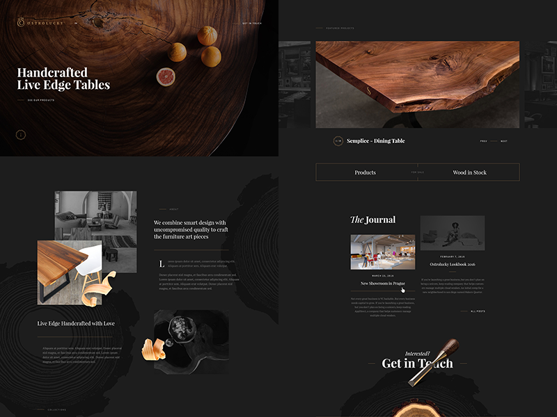 Ostrolucky.com interface dark wood ui slovakia serif rustic playfair landing homepage website