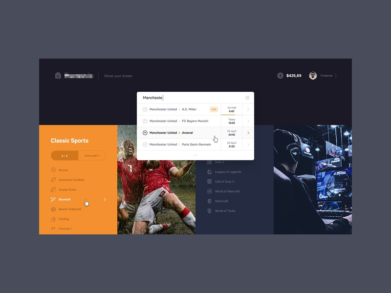 Betting Dashboard – Search homepage dark dashboard webdesign website app interface ux ui search esports sport betting