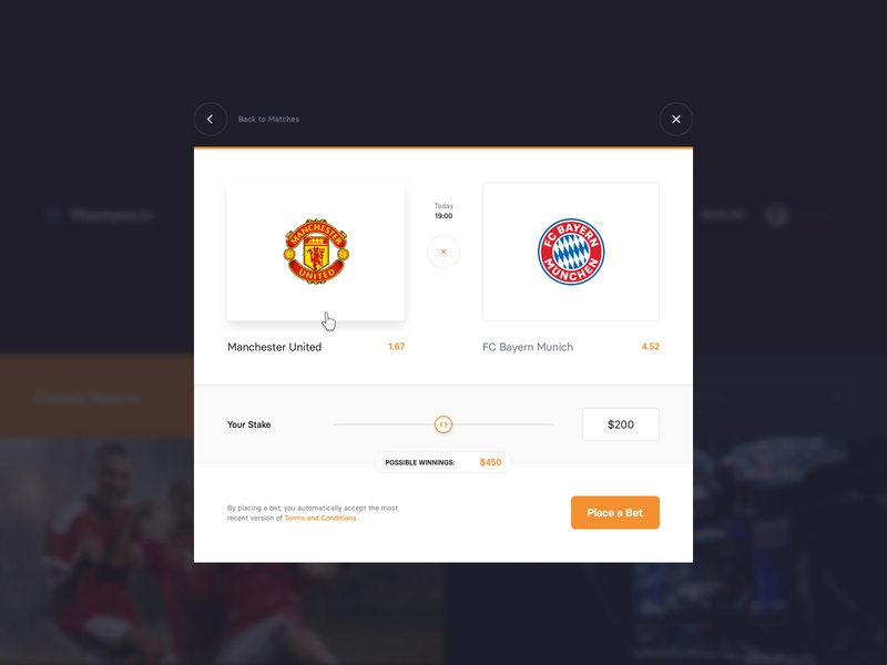 Betting Platform – Bet tip range team popup interface website ui window modal slider tip bet esports sport betting