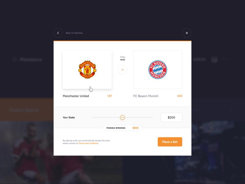 Betting Platform – Bet tip range team popup interface website ui window modal slider tip bet esports sport betting